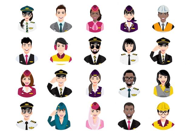 さまざまな人々のアバターの大きな束。プロの航空会社のチームの肖像画のセット。男性と女性のアバターキャラクター。
