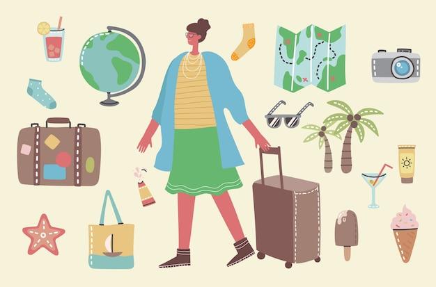 Большая пачка путешествий и летнего отдыха, связанных объектов и значков. женщина готова к поездке.