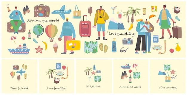 여행 및 여름 휴가의 큰 번들 관련 개체 및 아이콘. 포스터, 배너, 카드 및 패턴 콜라주에 사용합니다.