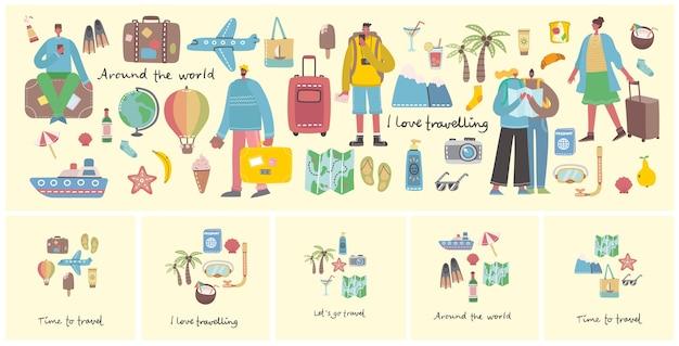 Большой набор предметов и значков, связанных с путешествиями и летним отдыхом.
