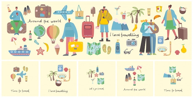 Big bundle of travel and summer holiday related objects and icons. for use on poster, banner, card and pattern collages.