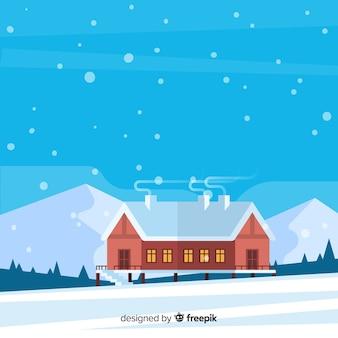Big cabin winter landscape