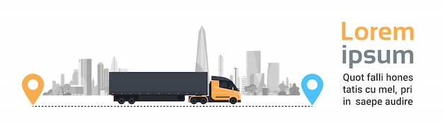 Big cargo truck over silhouette city on delivery route fast logistics transportation concept horizontal banner