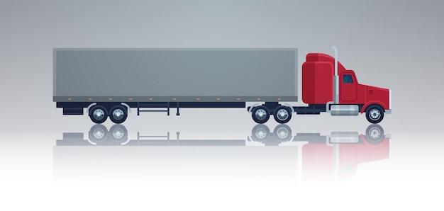 Большой грузовой автомобиль грузовой автомобиль с прицепом изолированный элемент шаблона полуприцеп вид сбоку доставка и доставка