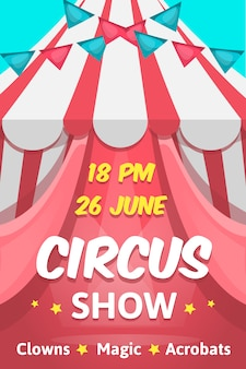 Big cartoon style pink poster with circus show editable text announcing clowns magic acrobats performance