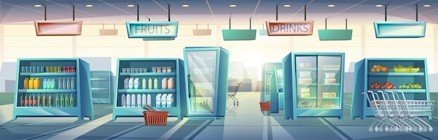 Big cartoon style supermarket with shelves with food and drinks