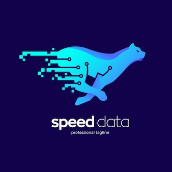 Big cat data technology logo design