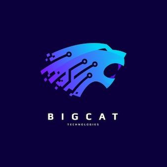 Big cat logo design with technical circuit