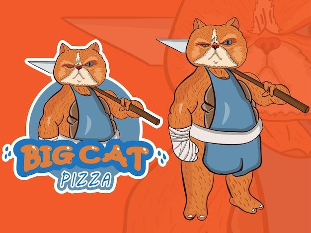 Большой кот талисман мультипликационный персонаж, держащий гриль для пиццы
