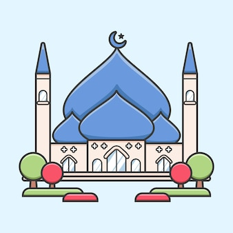 Big central mosque with blue dome and garden simple flat cute illustration for ramadan