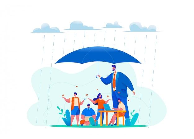Большой генеральный директор держит огромный зонтик под дождем.