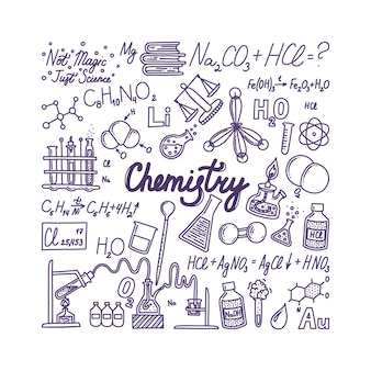 Big chemistry banner with lettering hand drawn objects associated with chemistry