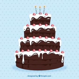 Большой шоколадный торт ко дню рождения