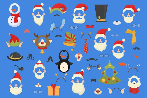 フォトブースセットの大きなクリスマスパーティーの小道具。帽子、マスク、その他の楽しい装飾のコレクション。サンタの帽子と口ひげ。図