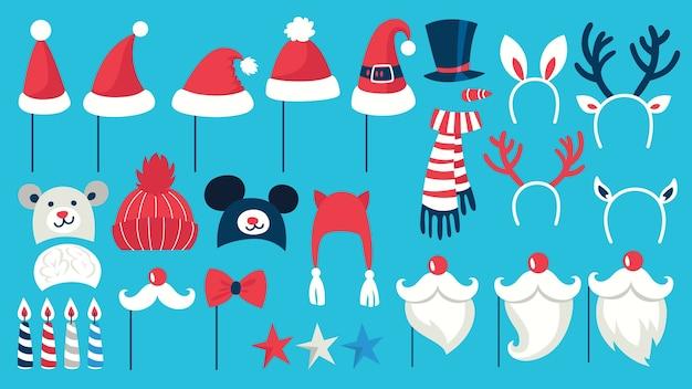 Большой реквизит для рождественской вечеринки для фотобудки. коллекция шляп, масок и других украшений для развлечения. шляпа и усы санты. иллюстрация