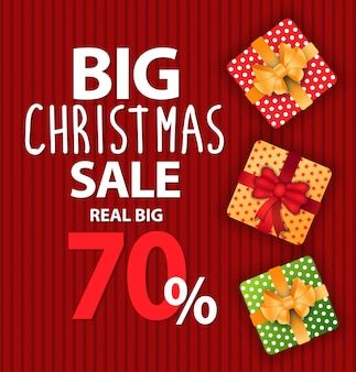 Big christmas sale banner and discount vector