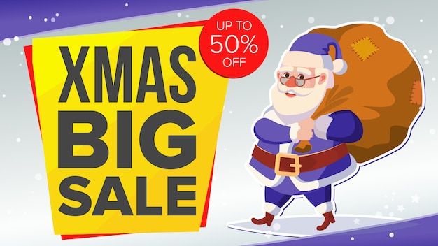 Big christmas sale banner with happy santa claus.
