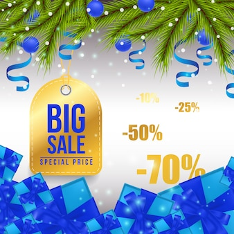 Big christmas sale bright banner design