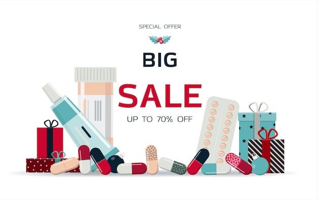 의약품 및 의료 서비스의 큰 크리스마스 판매 블랙 프라이데이 할인