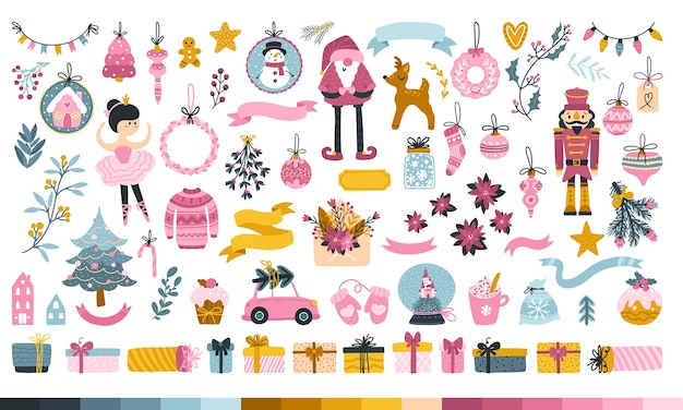 プリンセスのためのビッグクリスマスセット。かわいいキャラクター、サンタ、おもちゃ、クリスマスツリー、お菓子やギフト。お菓子のかわいいパレット。