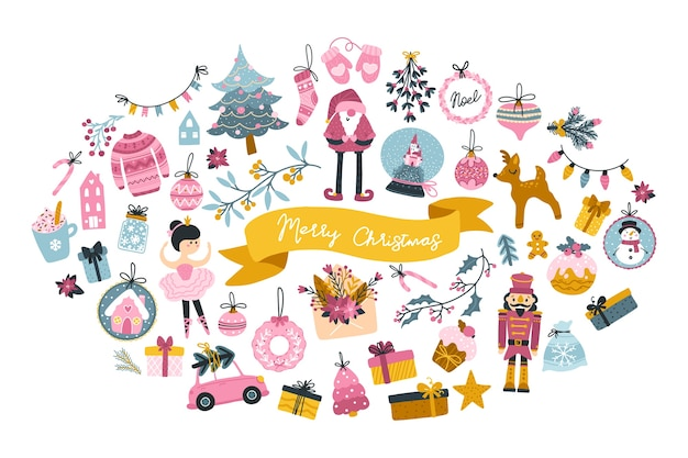 Big christmas set greeting card with cute characters and festive elements in the shape of an oval, in a childish hand-drawn scandinavian style with lettering. pastel palette.