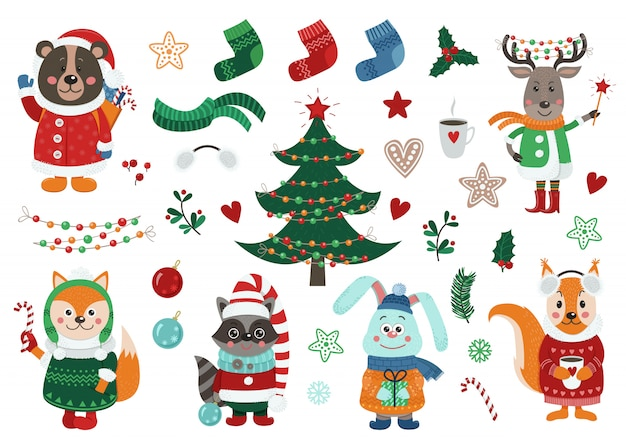 Big christmas set with isolated  forest animals