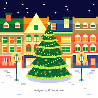 Big christmas tree in a town