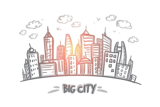 大都市のコンセプト。高層ビルでいっぱいの手描きの大都市。現代の建物はイラストを分離しました。