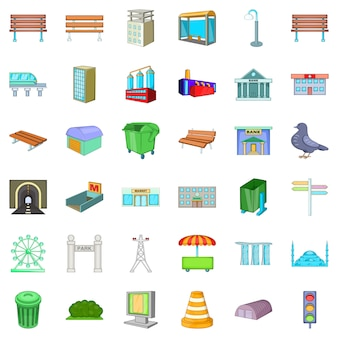 Big city icons set, cartoon style