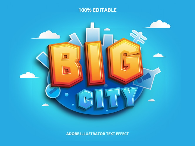 Big city text effect editable