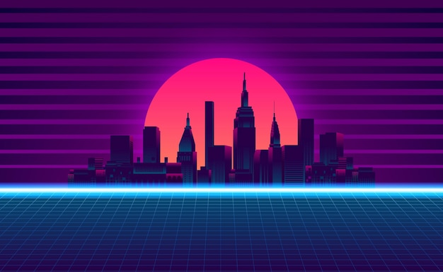 Big city urban silhouette skyscraper building sunset neon blue pink purple color retro 80s vintage style with gradient background