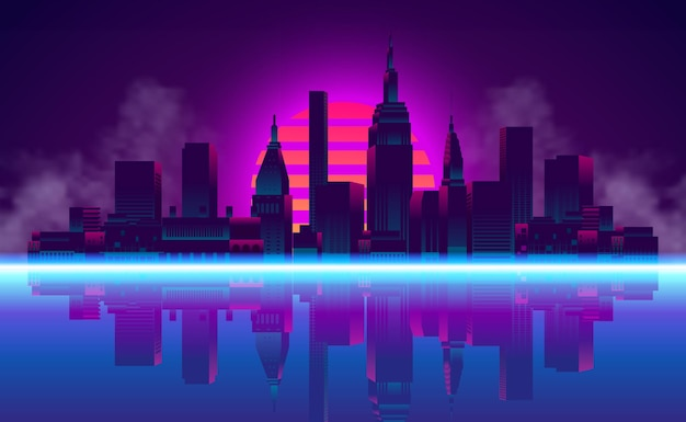 Big city urban silhouette skyscraper building with reflection neon blue pink purple color retro 80s vintage style with sunset gradient background