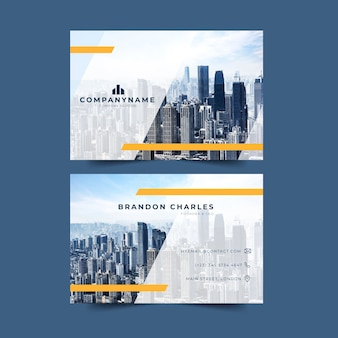 Big city with skyscrapers business card template