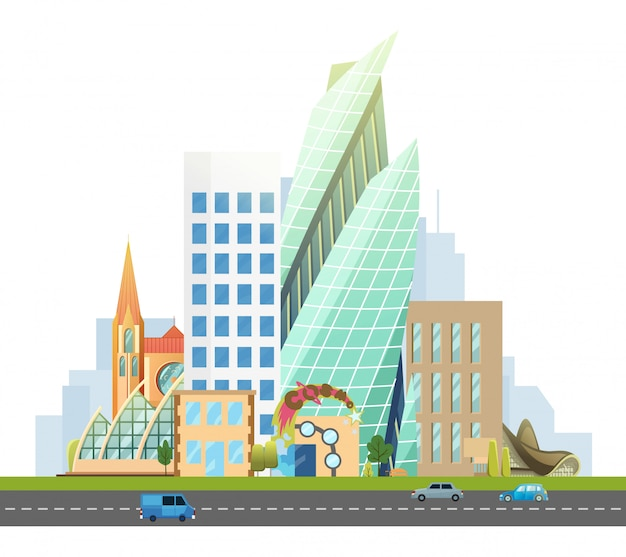 Big city with skyscrapers and small houses. highway with cars. vector flat illustration
