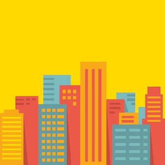 A big city on yellow background