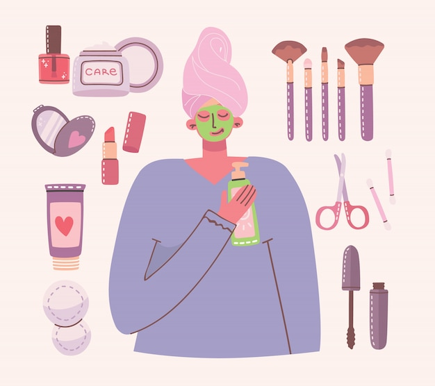 Big collage of cosmetics and body care products for make up.