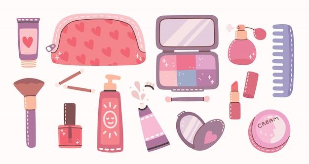 メイクアップのための化粧品やボディケア製品の大きなコラージュ。口紅、ローション、ヘアコーム、パウダー、香水、ブラシ、マニキュア。フラットスタイルのモダンなイラスト。