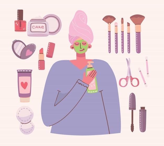 Большой коллаж из косметики и средств по уходу за телом для макияжа.