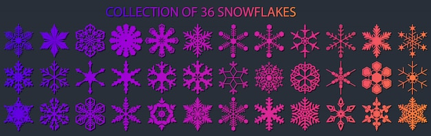 Big collection of 36 different snowflakes