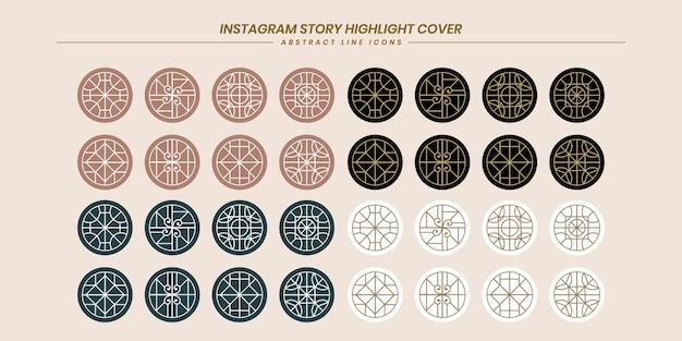 빅 컬렉션 추상 라인 아트 instagram 이야기는 소셜 미디어 프리미엄 벡터에 대한 아이콘을 강조 표시합니다.