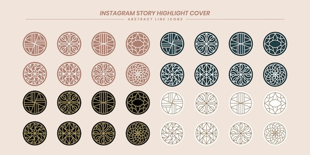 Big collection abstract line art instagram story highlight icons for social media premium vector