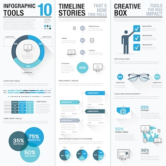 Big collection of business info graphics vector elements set