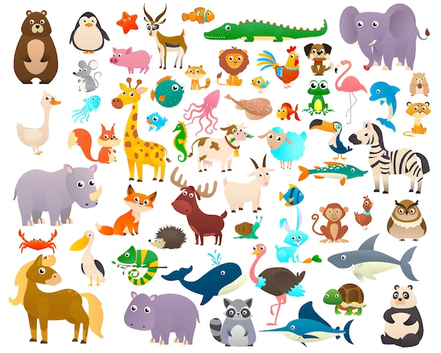 Big collection of cartoon animals
