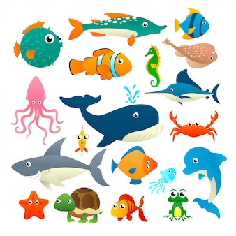 Big collection cartoon sea animals on white background