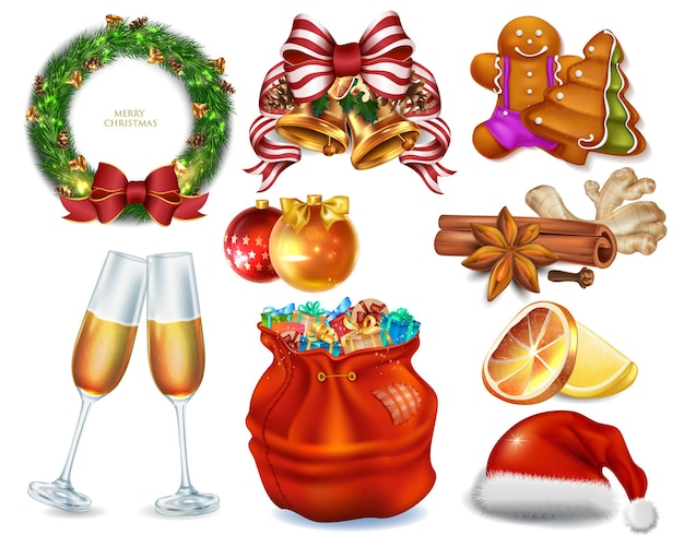 Big collection christmas icons for celebrate new year