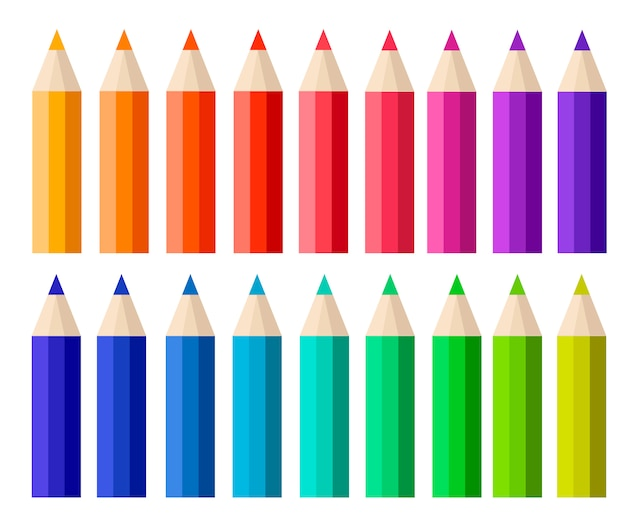 Big collection of colored pencils.  cartoon style.  illustration  on white background