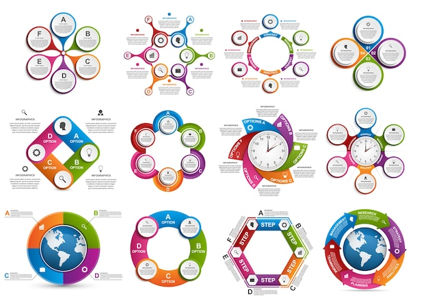 Big collection of colorful infographics.