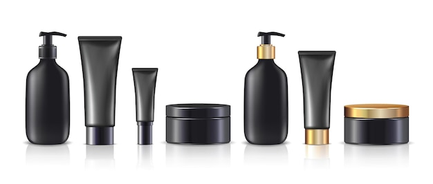 Big collection of  cream bottles and jars in black with or without golden lids isolated