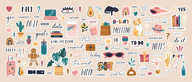 Big collection of cute weekly trendy planner stickers for diaries and to do list