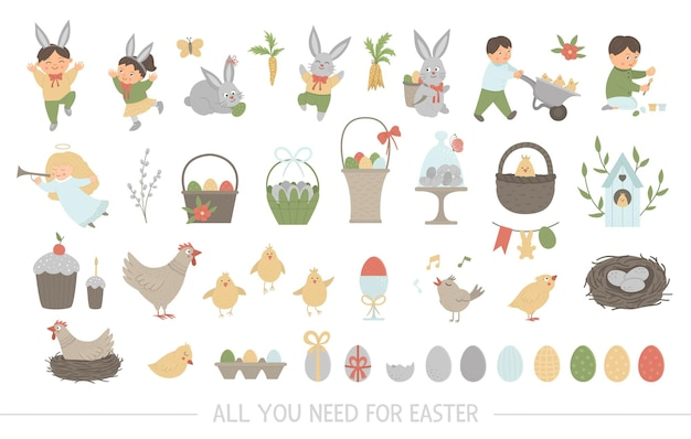 Big collection of design elements for easter.  set with cute bunny, children, colored eggs, chirping bird, chicks, baskets. spring funny illustration.